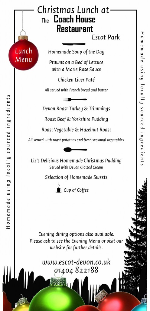 christmas lunch menu exeter devon
